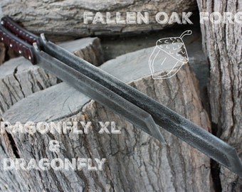 """Handcrafted Fallen Oak Forge FOF """"Dragonfly XL & Dragonfly"""" matched set full tang two handed tanto blades"""