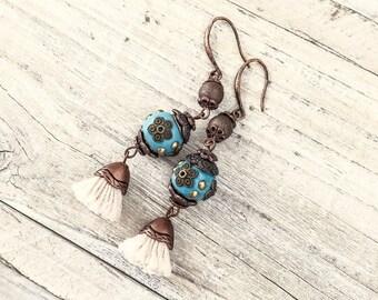 Gypsy Blue Tassel Earrings, Turquoise Earrings, Flower Gypsy Earrings, Bohemian Earrings, Blue Clay Earrings, Blue Boho Earrings, E030