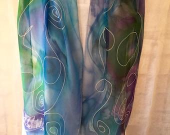 Allegra - Blue Chiffon Swirls - Abstract Silk Scarf