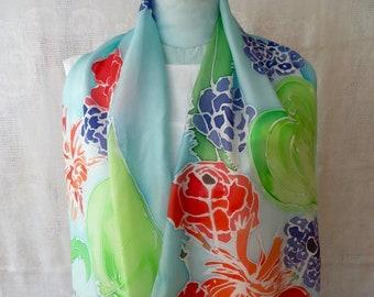Delinda hand painted tropical flower silk scarf