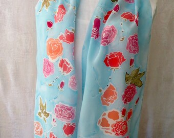 Delightful Rose Hand-Painted Silk Scarf