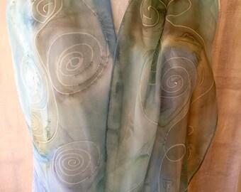 Allegra - Aqua light blue Chiffon Swirls - Abstract Silk Scarf