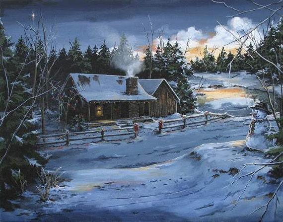 note cards farmhouse art rustic log cabin winter scenes etsy