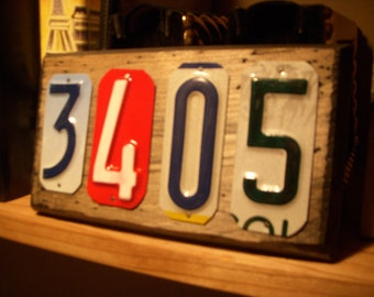Custom handmade 4 number house address  sign made with recycled license plates.