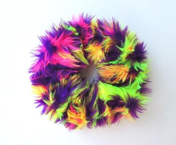 Fluffy Scrunchie Rave Hair Tie Scrunchies Trippy Hair  b72156939a3