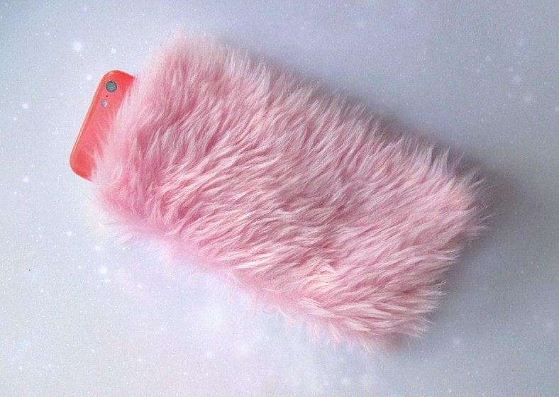 release info on fb947 3ea7b Fluffy Phone Cover iPhone X Case, Pink Fur Phone Case, Furry iPhone Case,  iPhone 7 Case, Fuzzy Case Pouch, Kawaii iPhone Case, Pink Faux Fur