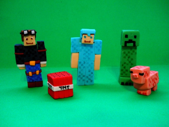 Marvelous Minecraft Inspired Dan Steve In Armor Creeper Pig And Tnt Etsy Personalised Birthday Cards Paralily Jamesorg