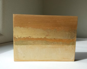 Golden Strata 5-Original, Abstract, Mixed Media Painting With Gold Leaf on Panel