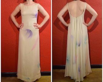 300ea010864 1970s Halston International Chiffon Ivory Gown Designer Vintage XS