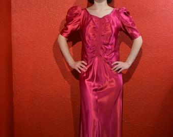 1930s Fuchsia Satin Dress Puffed Sleeves Deco