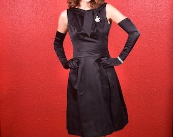 1960s LBD Black Dress Silk Faille Small Bonwit Teller