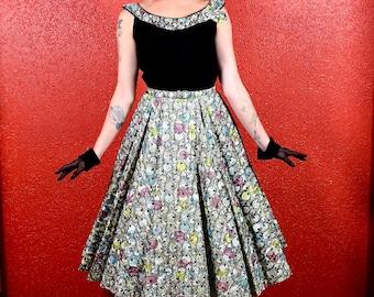 1950s Multicolor Velvet & Paper Taffeta Print Circle Dress