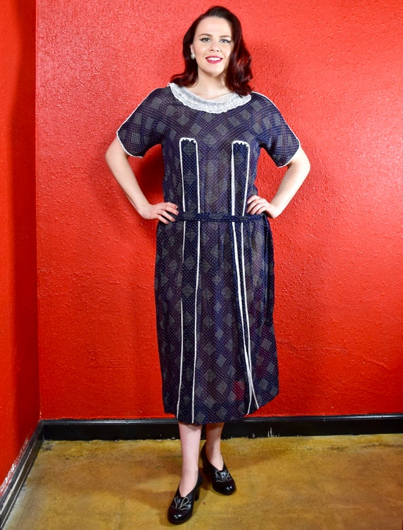 1920s 30s Sheer Swiss Dot Cotton Dress Large