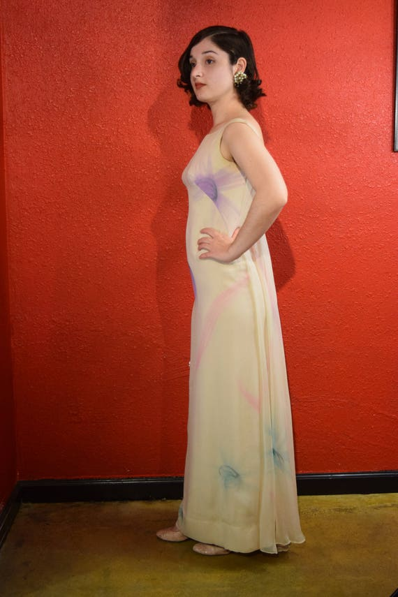 1970s Halston International Chiffon Ivory Gown De… - image 8