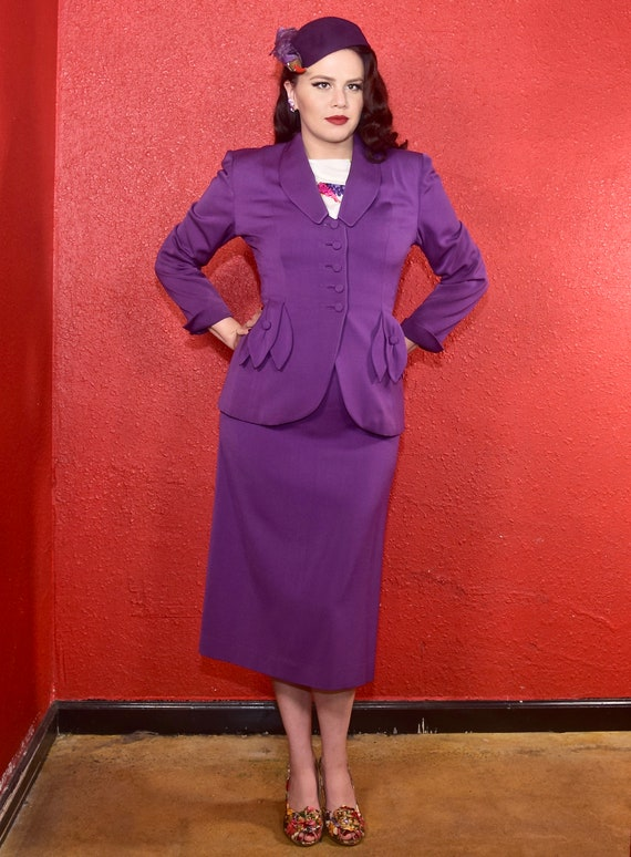 1940s Purple Gabardine Ladies Suit