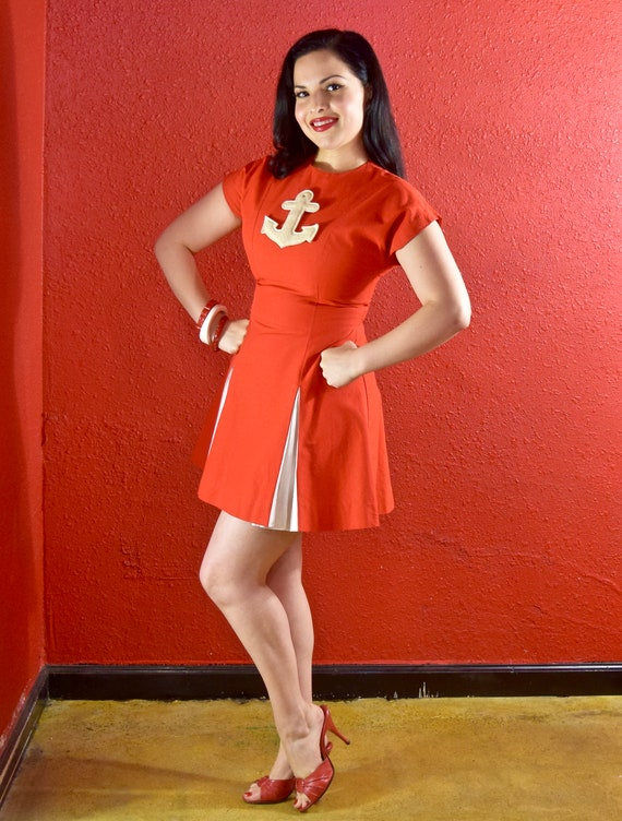 1950s Anchor Red & White MIni Dress Cheerleader Na