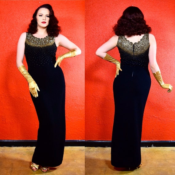 1950s 60s Gold Beaded Knit Dress Gene Shelly Style