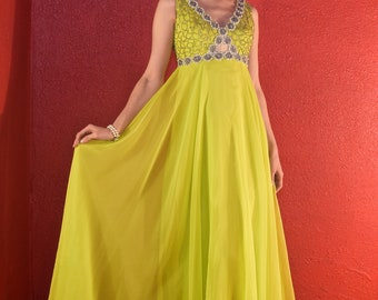 1960s Chartreuse Chiffon & Beads Gown