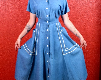 1940s Nautical Dress Chambray Blue with Stars