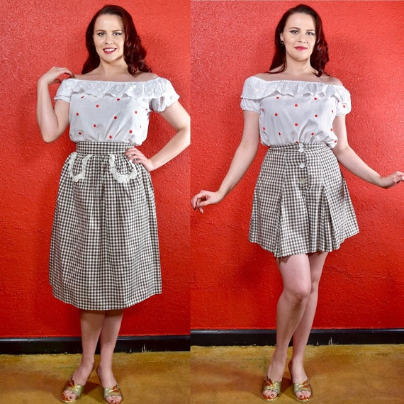1940s Gingham Shorts and Skirt Set Two Piece Cotto