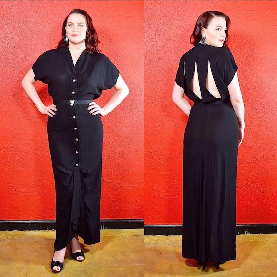 1930s 40s Black Crepe Dress Cage Back Button Front