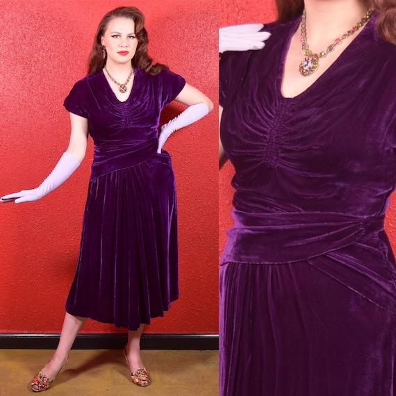 1930s Purple Silk Velvet Draped Dress - image 1