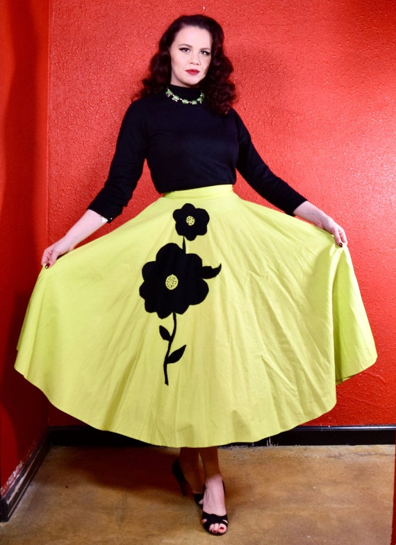 1950s Circle Skirt Chartreuse Cotton with Black Fe