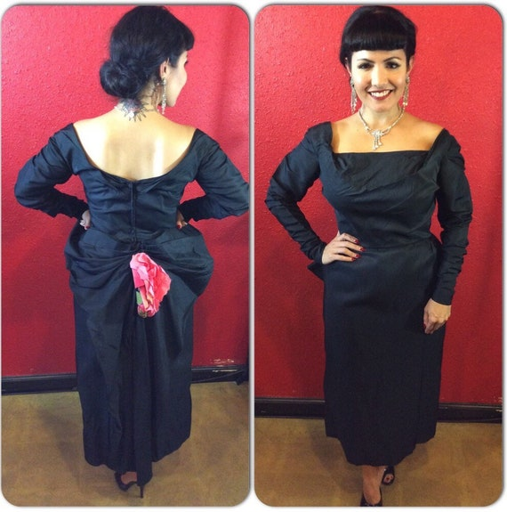 1940s 50s Ceil Chapman Black Draped Fitted Cockta… - image 1