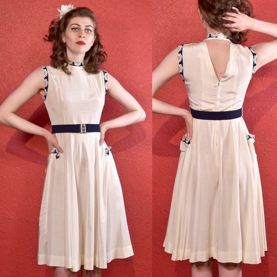 1940s White Summer Dress with Blue & White Trim