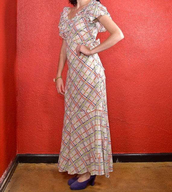1930s Cotton Plaid Day Dress Ruffle Trim - image 5