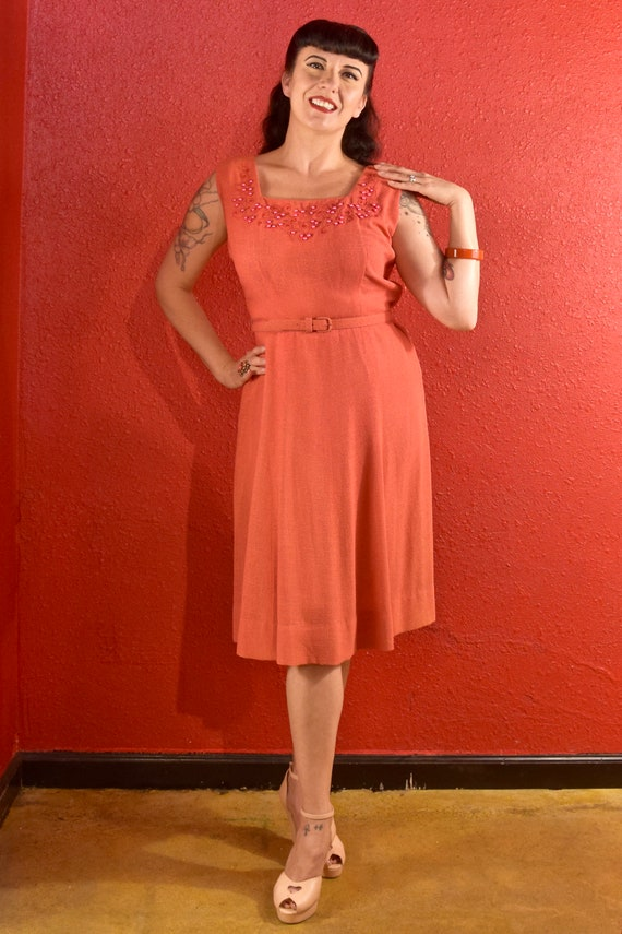 1940s Dress and Bolero Large Coral Dyed Pearls - image 3
