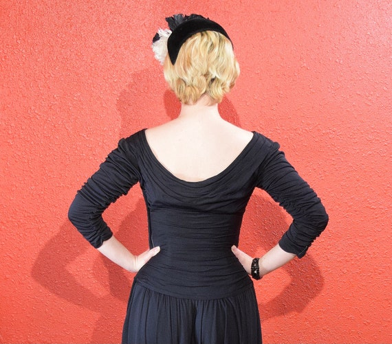1950s Ceil Chapman Designer Jersey Draped Dress - image 7