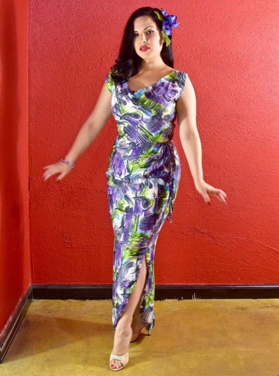 1950s Hawaiian Cotton Print Gown Mildreds of The R