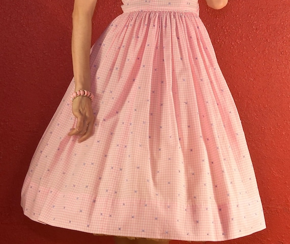 1950s Pink Gingham Dress Cotton Fit & Flare - image 6