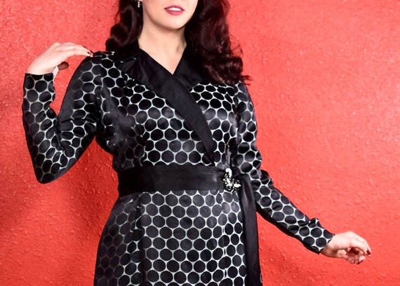 1920s Black Dot Silk Shift Chemise Dress - image 4