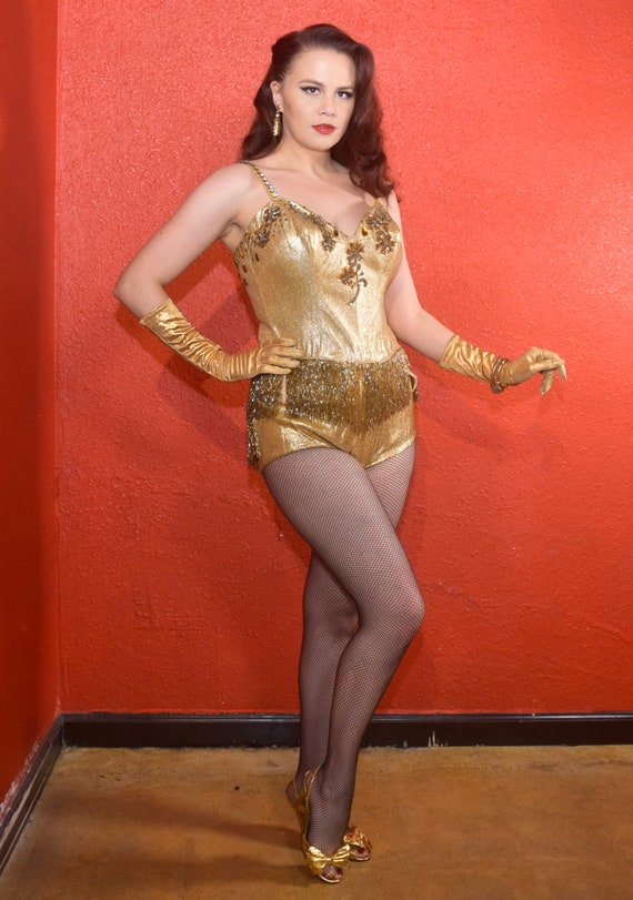 1950s Gold Lurex Showgirl Burlesque Swimsuit Cost… - image 7
