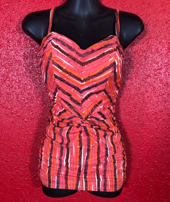 1950s Cole of California Swimsuit Pink Stripe Smal