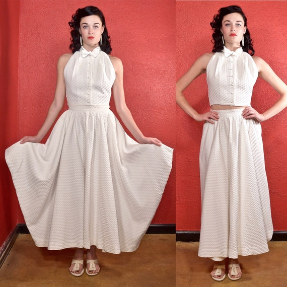 Rare Claire McCardell 1950s White Dress Two Piece