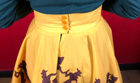 1950s 50s Style Western Novelty Print Circle Skirt - image 7