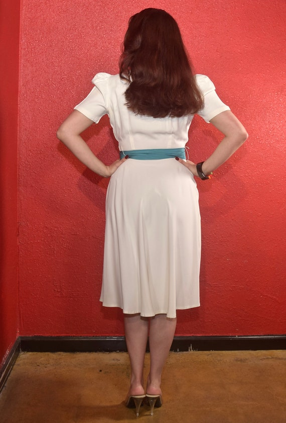 1940s Rayon Dress White with Color Block Tie Joan… - image 6