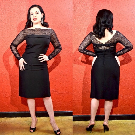 1950s Minx Modes Black Lace Illusion Neckline Dres