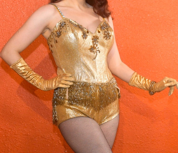 1950s Gold Lurex Showgirl Burlesque Swimsuit Cost… - image 8