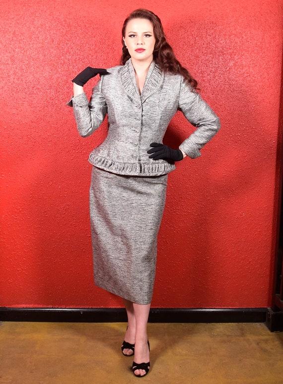 1950s Lilli Ann Silver & Black Suit Imported Fabri