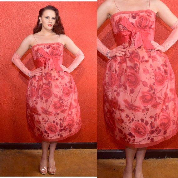 1950s Rosy Pink Dress Rose Print Chiffon Overlay