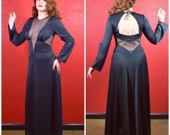 1970s Black Plunging Neckline Lounge Gown