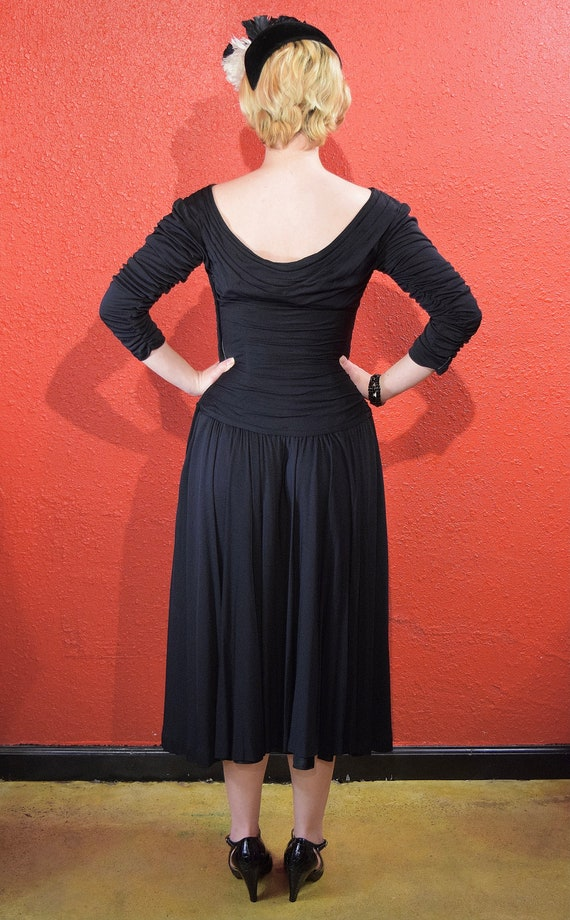 1950s Ceil Chapman Designer Jersey Draped Dress - image 8