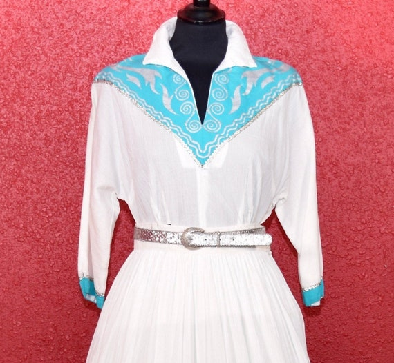 1950s Patio Dress Faye Creations Aqua & White - image 2