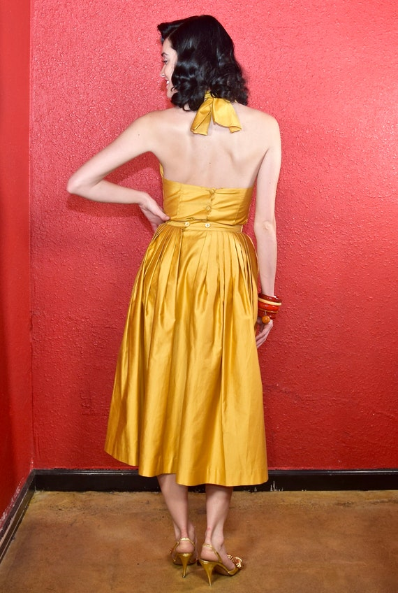 1950s Gold Polished Cotton Two Piece Dress Nelly … - image 4