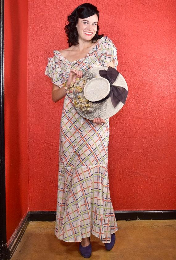 1930s Cotton Plaid Day Dress Ruffle Trim - image 3