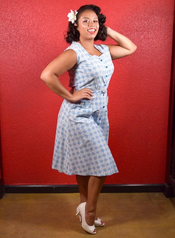 1950s Cotton Plaid  Large Shirtwaist with Belt - image 3